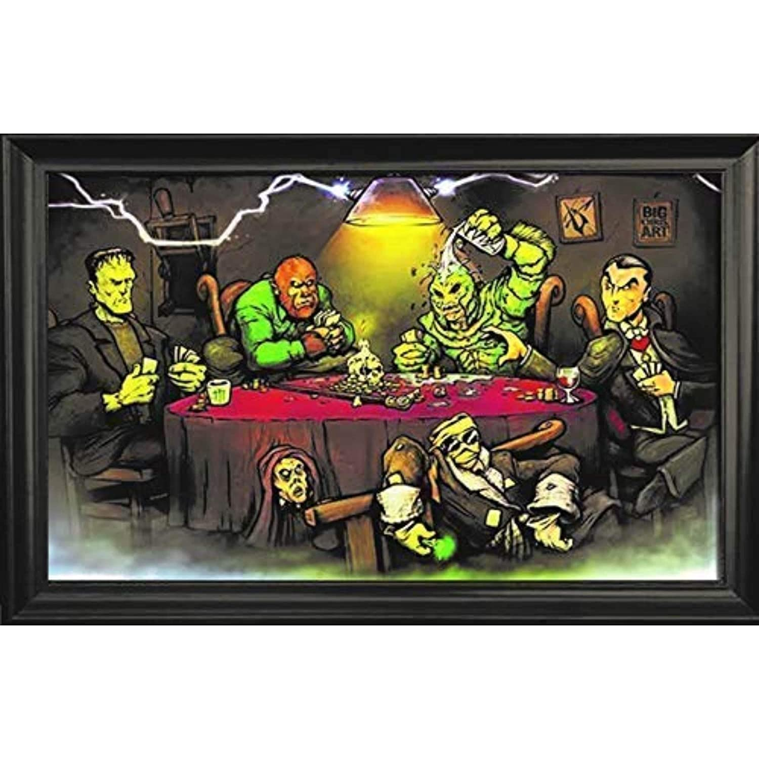 Monsters Playing Poker Wall Art Decor Framed Print | 36x24 Premium (Canvas/Painting Like) Textured Poster | Scary Horror Movie Picture & Artwork for ...