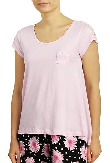 6283b7cc485e Hue Sleepwear Women s Short Sleeve Scoop Neck Sleep Tee With Lace Trim