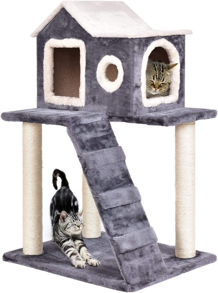 Tangkula Cat Tree, Multi-Level Kitty Tower Condo, Lovely Pet Furniture with Scratching Posts and Ladder, Pet Play Toy House, Activity Centre Cat Tree – for Kittens, Cats and Pets 36