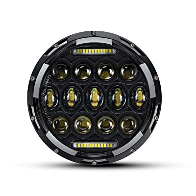 QUAKEWORLD Motorcycle 7 Inch LED Headlight Replacement for Harley Davidson Adaptive LED Headlamp Black | Also Fits Jeep Wrangler: Automotive