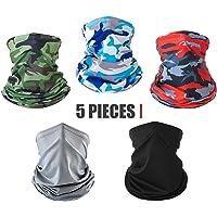 $23 » 5 Pack Neck Gaiter Face Mask Dust for Men Women Sun UV Protection Cool Bandana Washable…