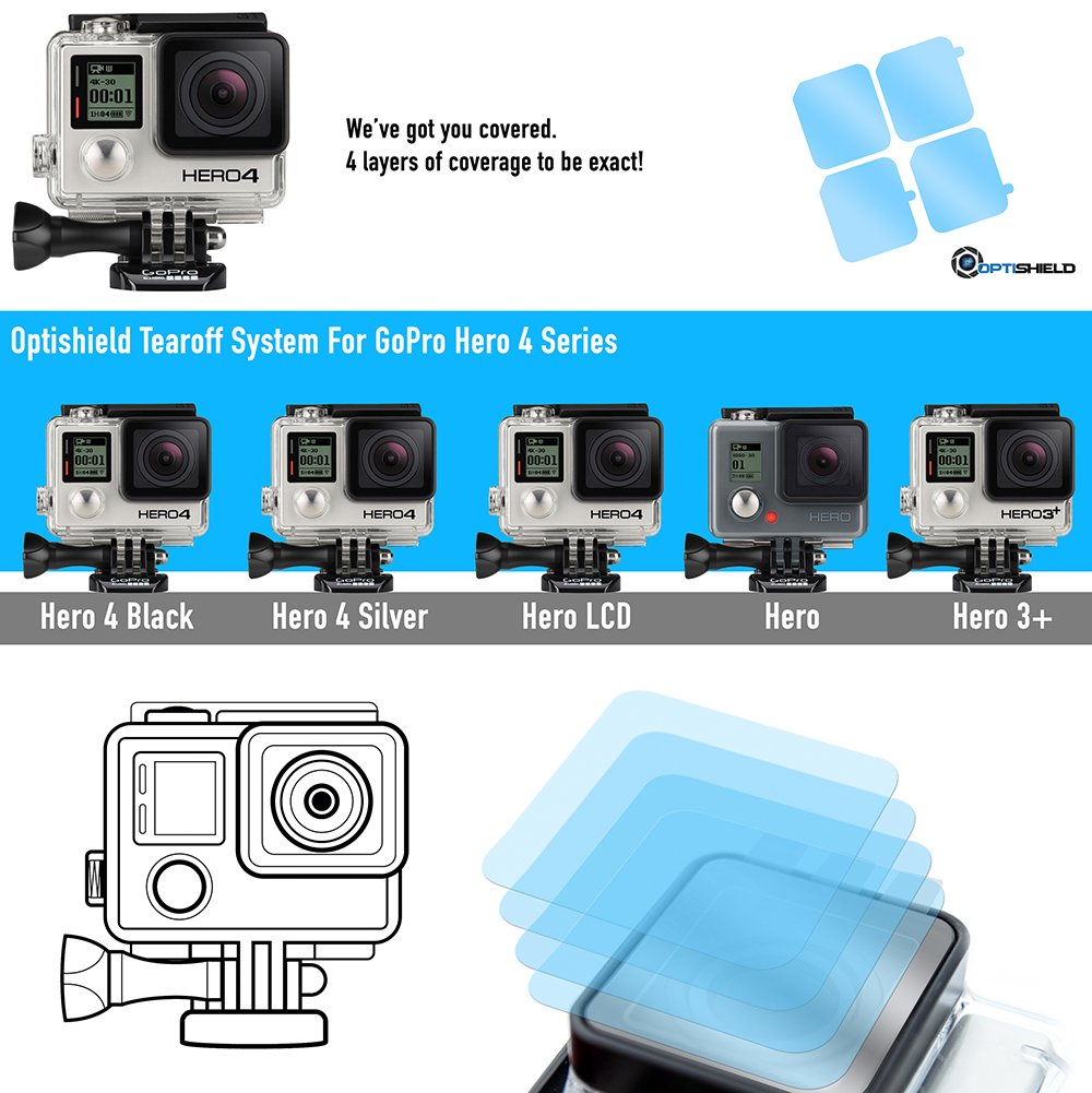 Optishield Action Camera Tear-off Lens Covers For GoPro Hero 5 / Hero 4/ Hero 3+ Series by Racelite Protection