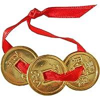3 piezas de moneda, dorado Feng Shui oro