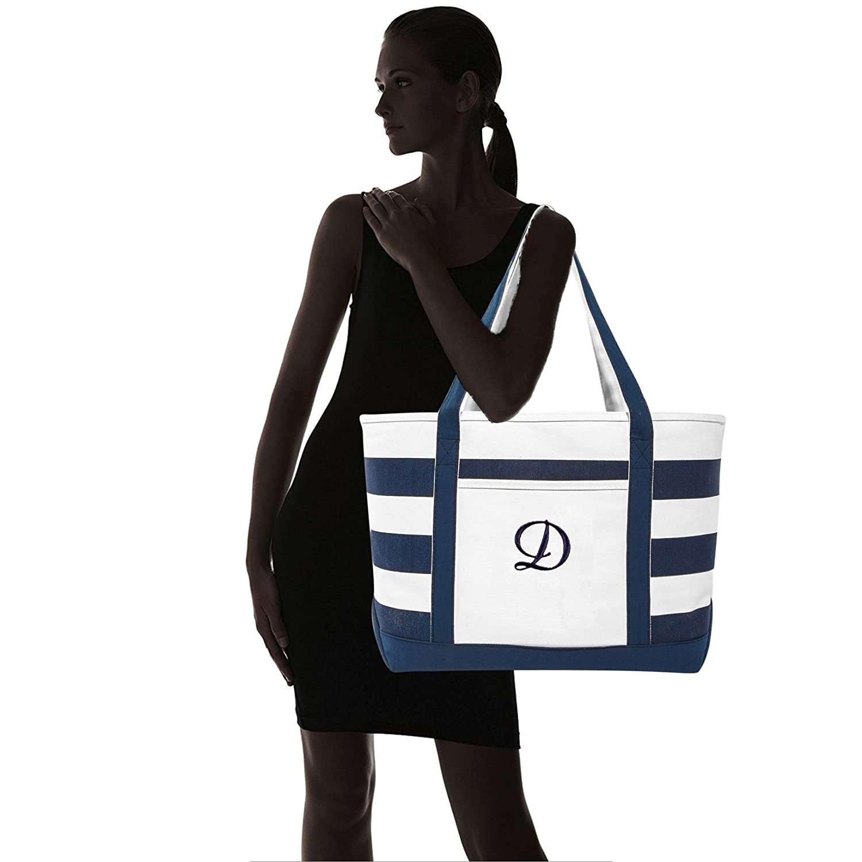 62855c5caa DALIX Premium Beach Bags Striped Navy Blue Zippered Tote Bag Monogrammed A  - Z ST-