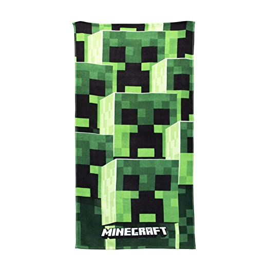 Perfect for The Bath Grey 140 x 70cm Tower Design Minecraft Official Towel Super Soft Feel 100/% Cotton Beach /& Swimming Pool