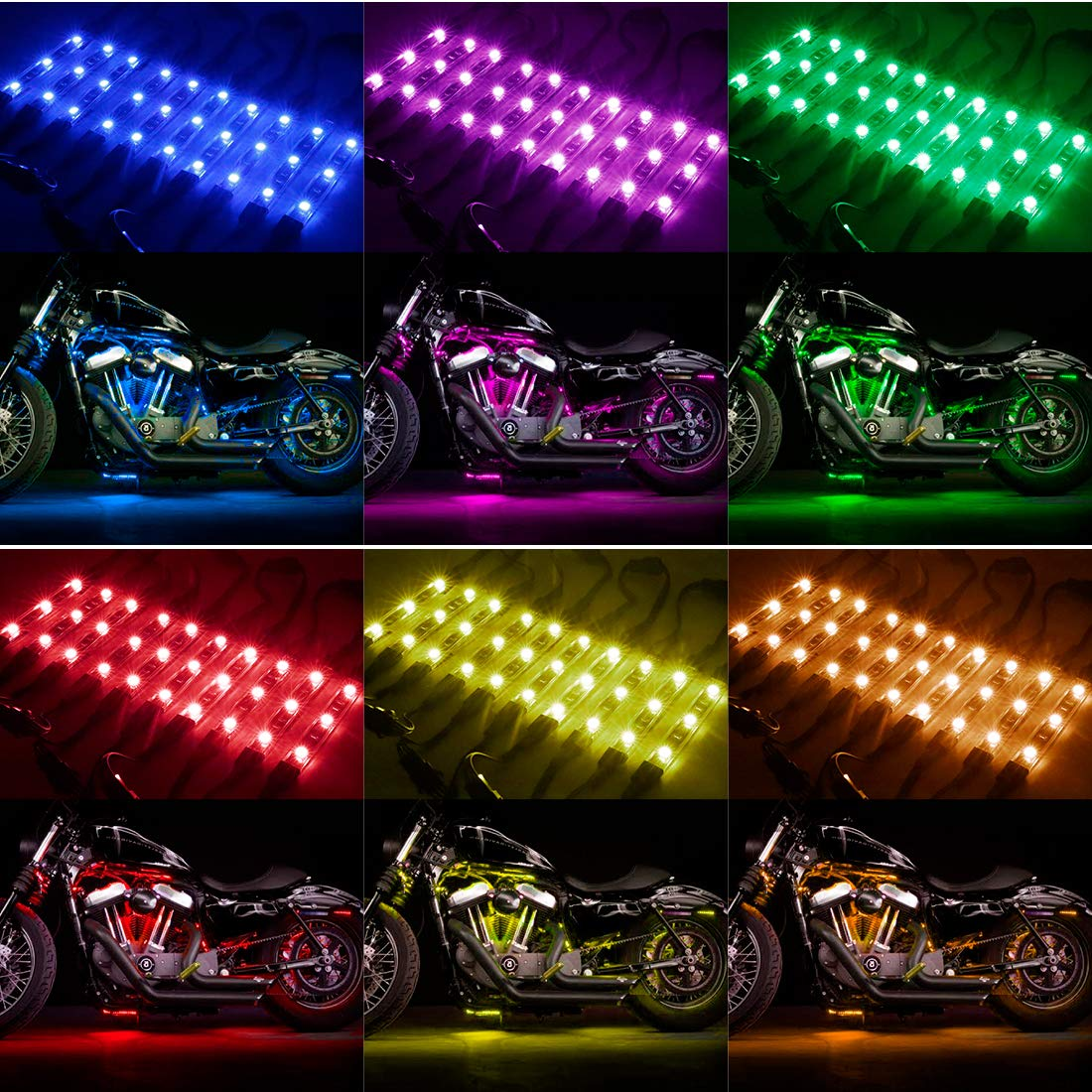 12Pcs Led Light Kits Multi-Color Wireless IR//RF Remote Controller Motorcycle Atmosphere Lamp RGB Flexible Strips Ground Effect Light for Motorcycle-NEW UPGRADE