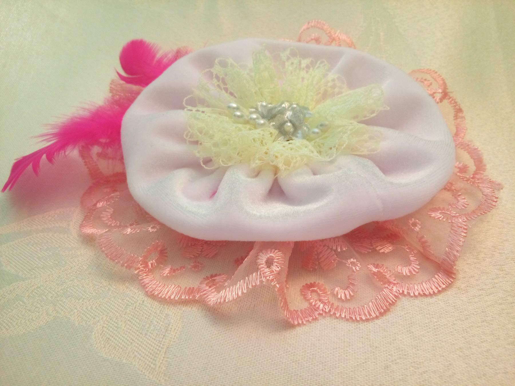 Light Peach Yellow White Velvet Lace Fabric Flower Large Brooch 7''
