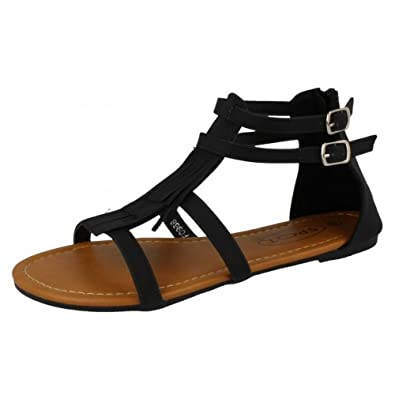 9e9044554649 Spot On Womens Ladies Twin Strap Gladiator Fringe Sandals  Amazon.co.uk   Shoes   Bags