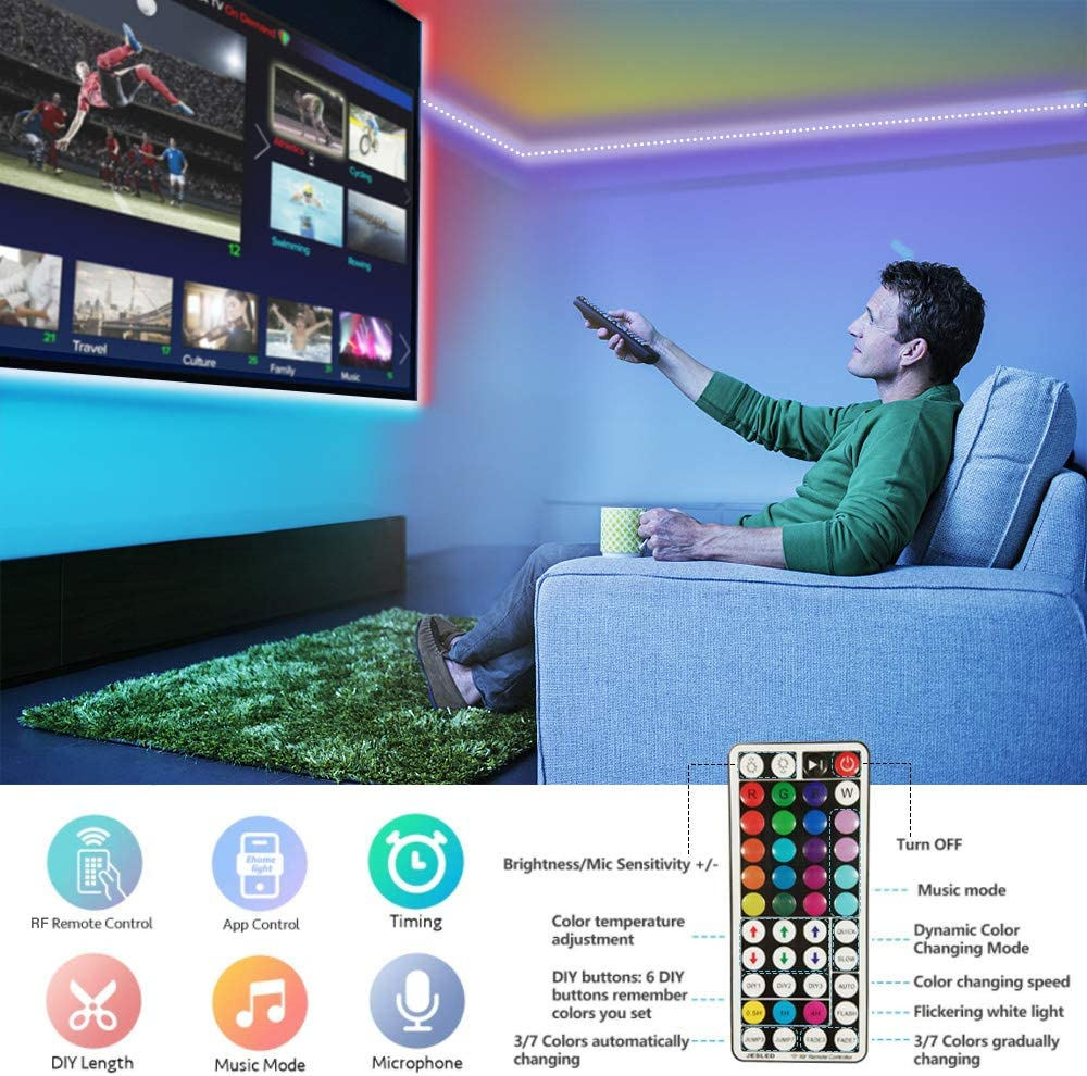 5050 RGB LED Strip JESLED 15M IP65 Impermeable LED Strip Tiras Sincronizaci/ón de m/úsica Bluetooth,control de aplicaciones Hogar,Bar para Habitacion Remoto de 44 Botones Tiras De LED Para Exterior