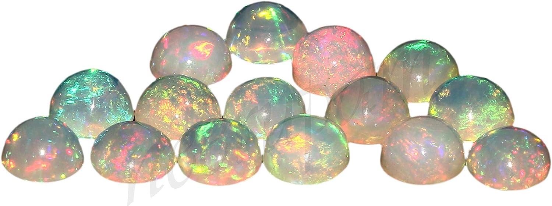 Natural Blanco welo fuego calidad AAA /ópalo et/íope de 2.5 mm de forma redonda cabuj/ón calibrado tama/ño de la piedra preciosa floja Natural de Etiop/ía welo /ópalo para la fabricaci/ón de joyas