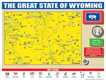 Amazon.com : Gallopade Publishing Group Wyoming State Map for ...