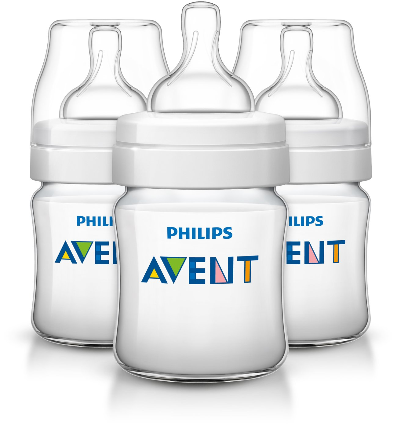Philips Avent Anti-colic Baby Bottles Clear, 4oz, 3 Piece SCF400/37