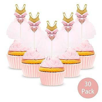 82f99bf28 Gold Birthday Cupcake Toppers, Kereda 30 Pack Girls Pink Princess Ballerina  Tutu Cake Picks for
