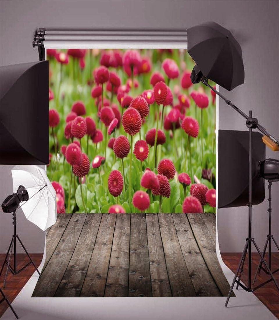 AOFOTO 3x5ft Photography Backdrop Artistic Background Kid Girl Portrait Garden Scenery Park Flowers Wooden Floor Photo Studio Props Vinyl Wallpaper