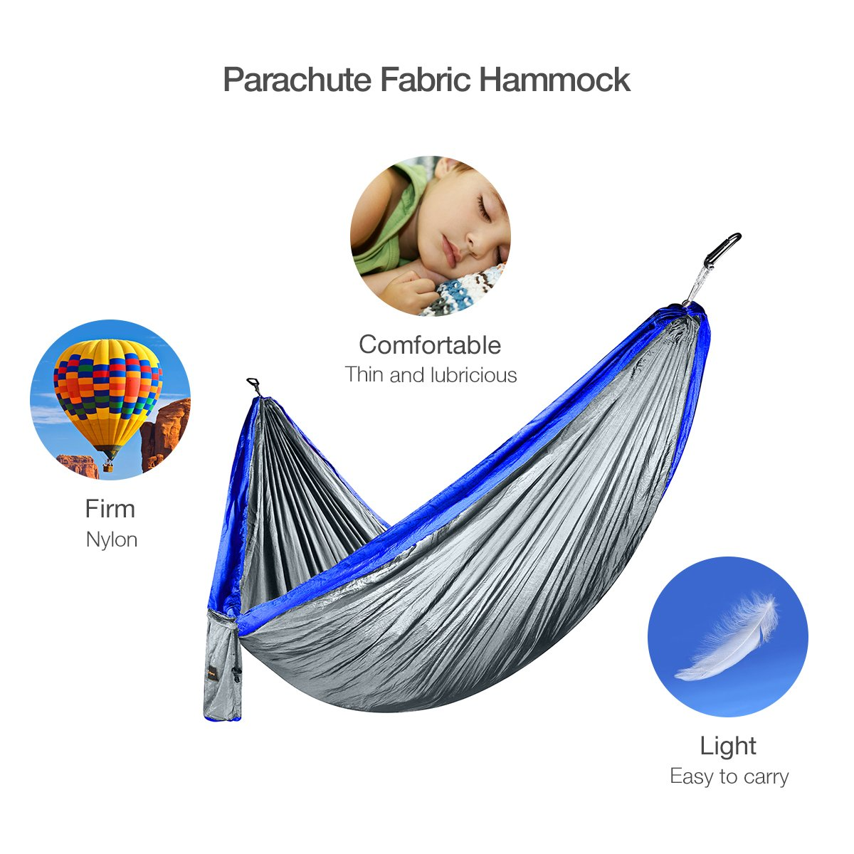 isYoung Parachute Fabric Hammock, Durable and Portable , Suit for 2 Persons, Tree Tent, Outdoors (Blue)