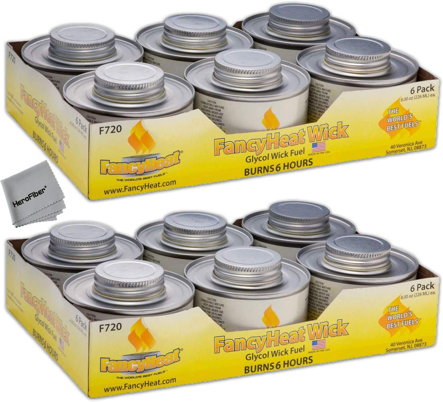 Chafing Dish Fuel Cans – Includes 12 Wick Candle Chafing Fuels, Burns for 6 Hours (8.0 OZ) for your Cooking, Food Warming, Buffet and Parties.