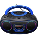 Portable CD Player Boombox, Color Changing Lights with Bluetooth FM Radio USB MP3 Playback,CD-R/CD-RW Compatible,CD-MP3…