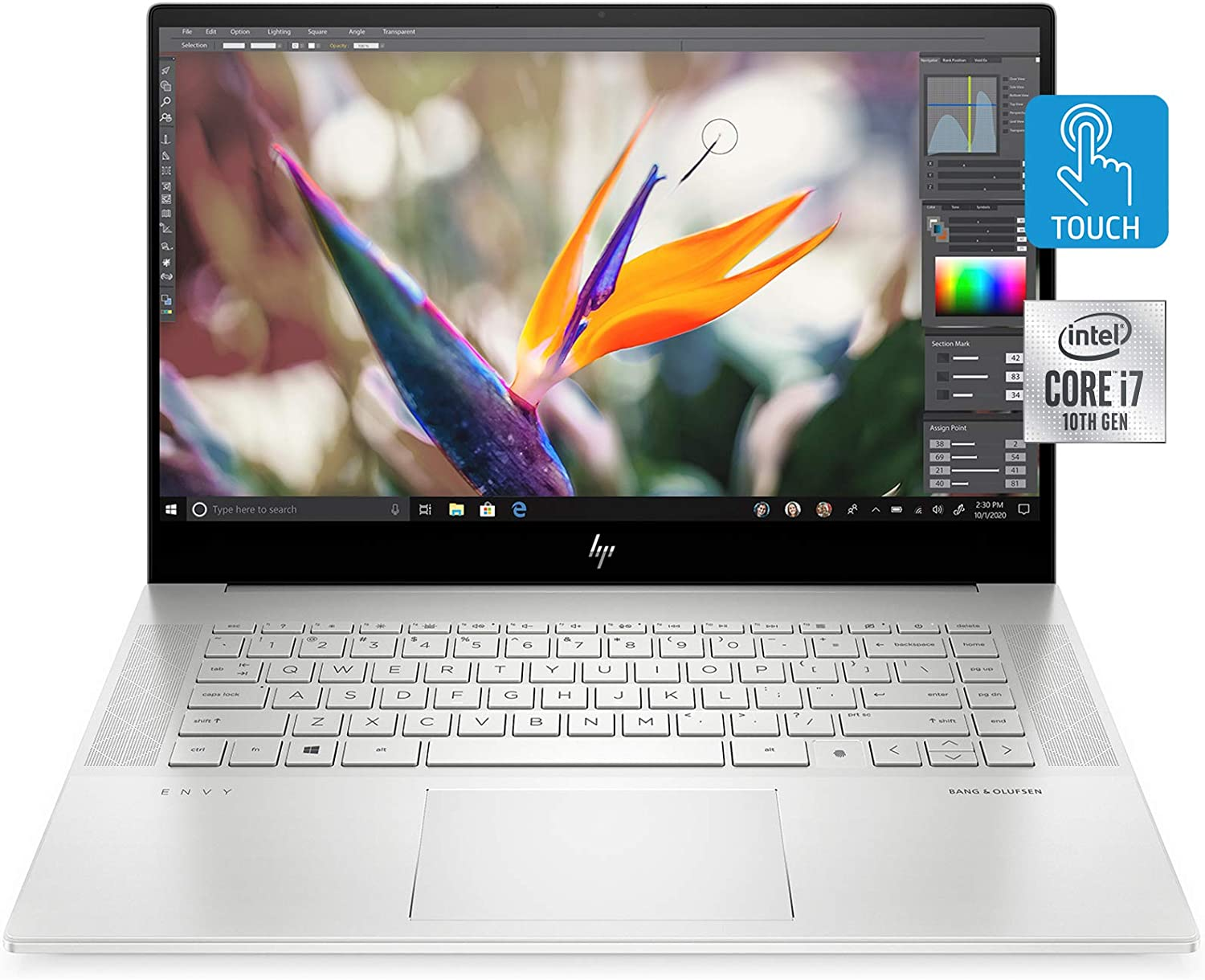 "HP Envy 15 Laptop, Intel Core i7-10750H, NVIDIA GeForce GTX 1650 Ti Graphics, 16 GB RAM, 512 GB SSD Storage,15.6"" Full HD Touchscreen, Windows 10 Home, Fingerprint Reader (15-ep0010nr, 2020 Model)"
