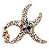 Rose Gold Tone and Multi-color Crystal Starfish Pin Brooch with Seahorse Accent
