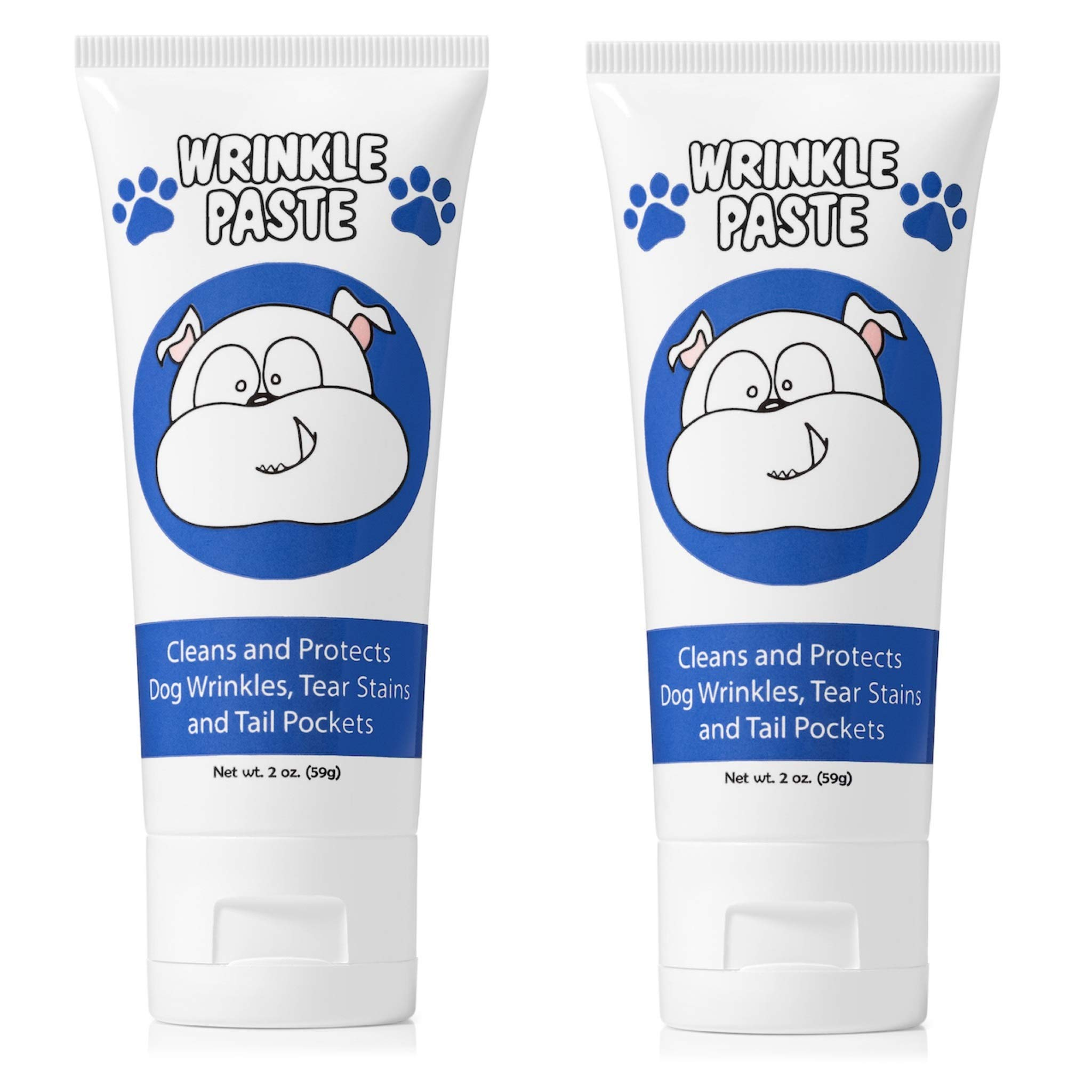 Squishface Wrinkle Paste - 2 Tubes - Cleans Wrinkles, Tear Stains and Tail Pockets - 2 Oz, Anti-Itch, Great for Bulldogs, Pugs and Frenchies by Squishface