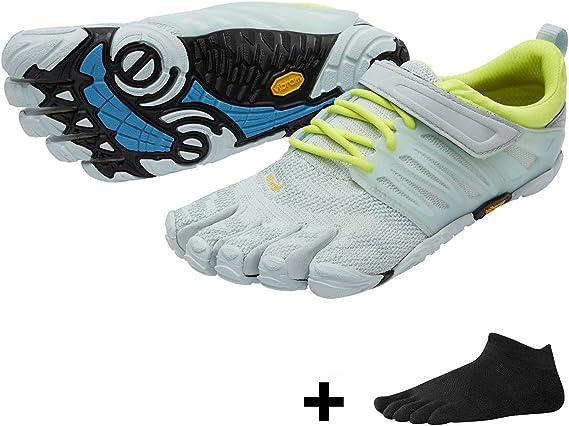 Vibram FiveFingers V de Train Women – Fitness – Juego de entrenamiento de diez Zapatos Calcetines de dedos con Gratis, Pale Blue / Safety Yellow, 42: Amazon.es: Deportes y aire libre