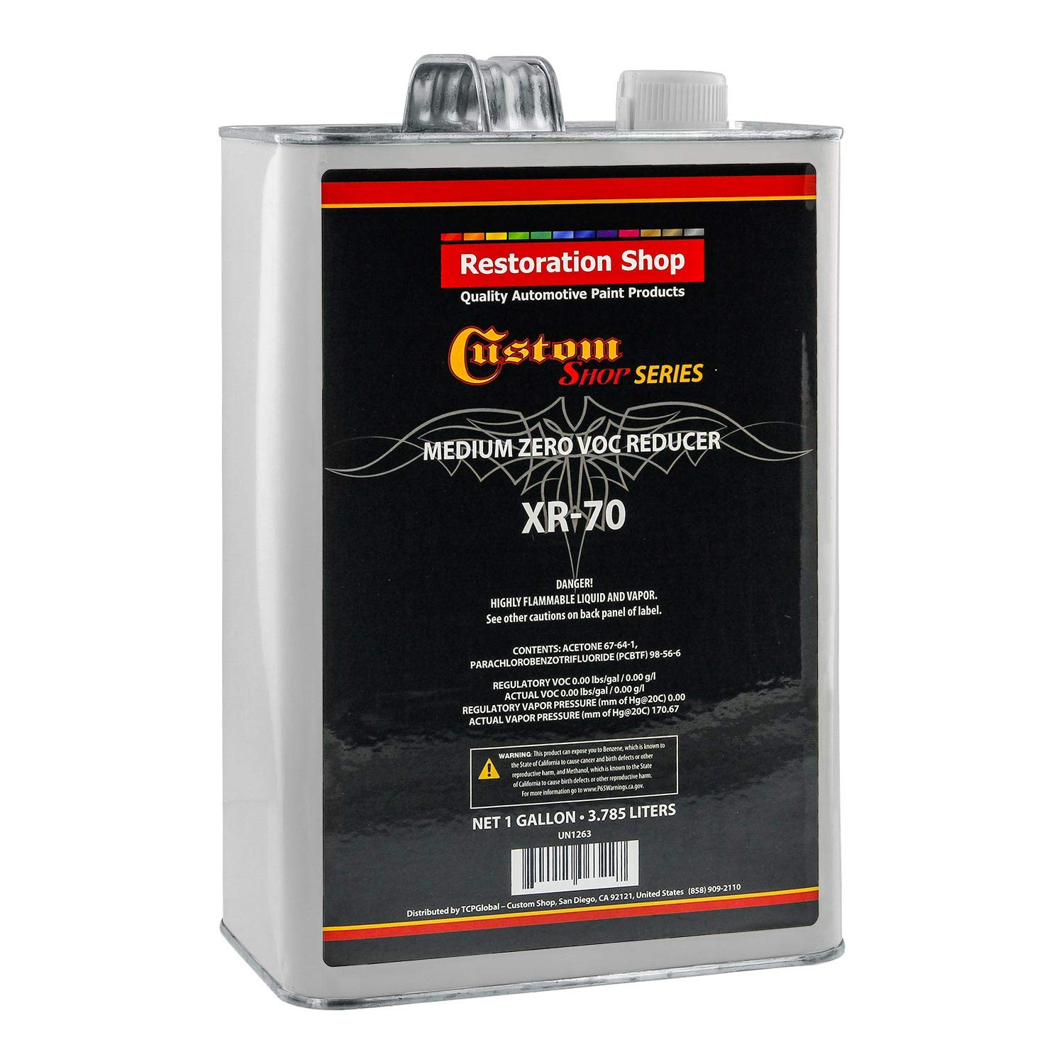 Restoration Shop/Custom Shop - XR70 Medium Zero V.O.C. Urethane Reducer (Gallon) for Automotive Paint and Industrial Paint Use for Low V.O.C. Compliance