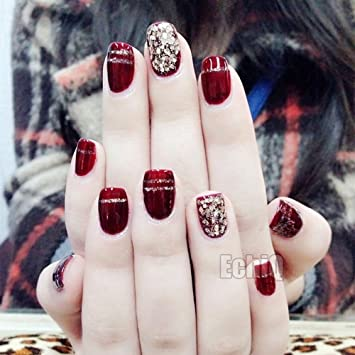 Z912 - Uñas postizas de gel UV con purpurina de champán para uñas, color rojo: Amazon.es: Belleza