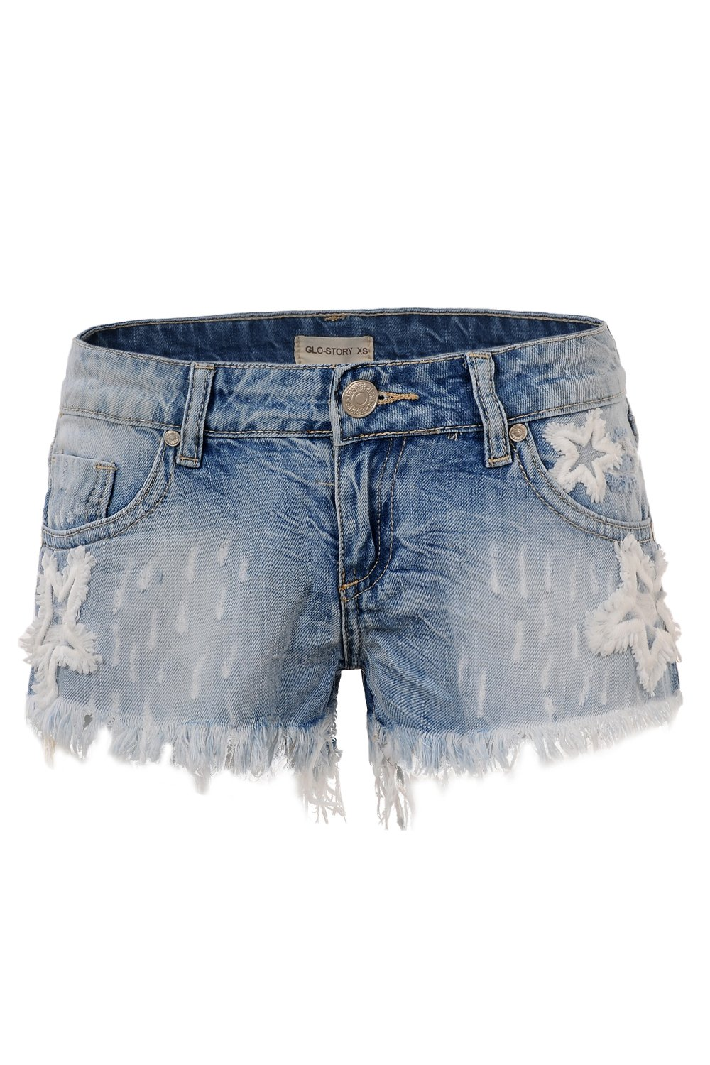 GLOSTORY Women's Causal Low Waist Tassels Skinny Juniors Vintage Denim Shorts WNK-2191 (M, Light Blue) by GLOSTORY (Image #1)