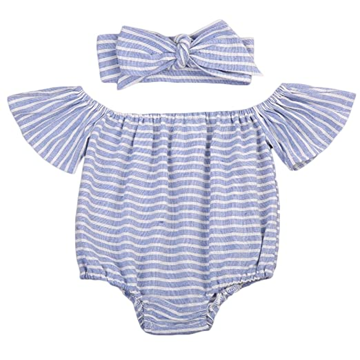 c1dd1dbc337 CaNIS Baby Girls Striped Off-shoulder Strapless Fly Sleeve Ruffle Romper  with Headband (80