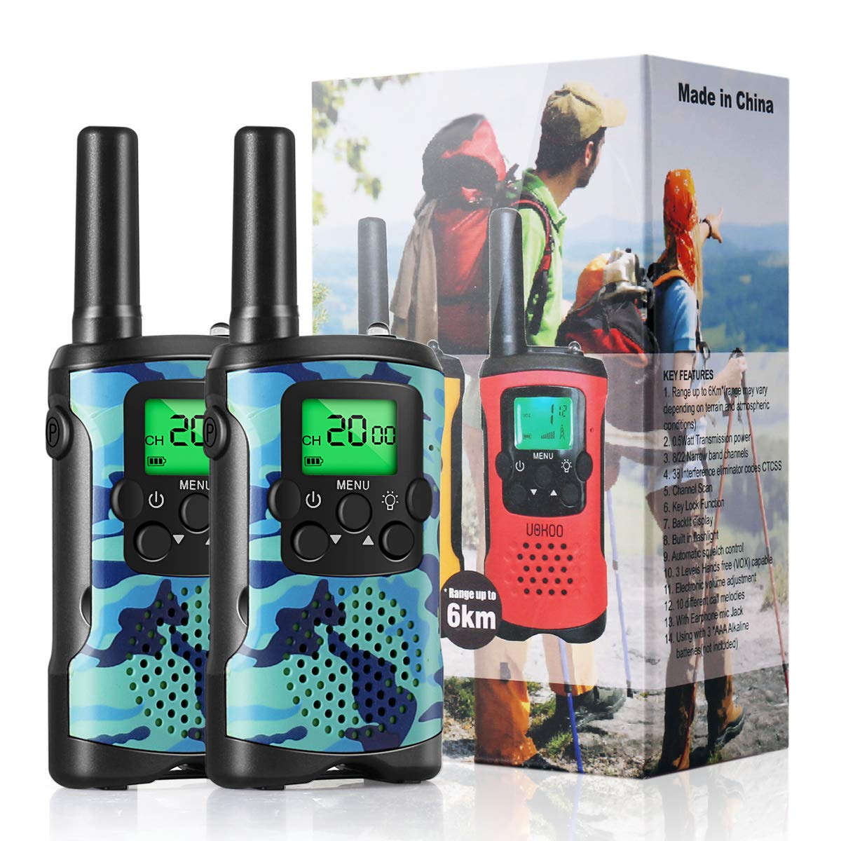 Walkie Talkies for Kids, Cakie 22 Channel FRS/GMRS 2 Way Radio (up to 3.7 Miles) UHF Hand-held Kids Walkie Talkies with Back-lit LCD Screen, Toys for 5 6 7 8+ Old Boys and Girls as Gift(New Blue)