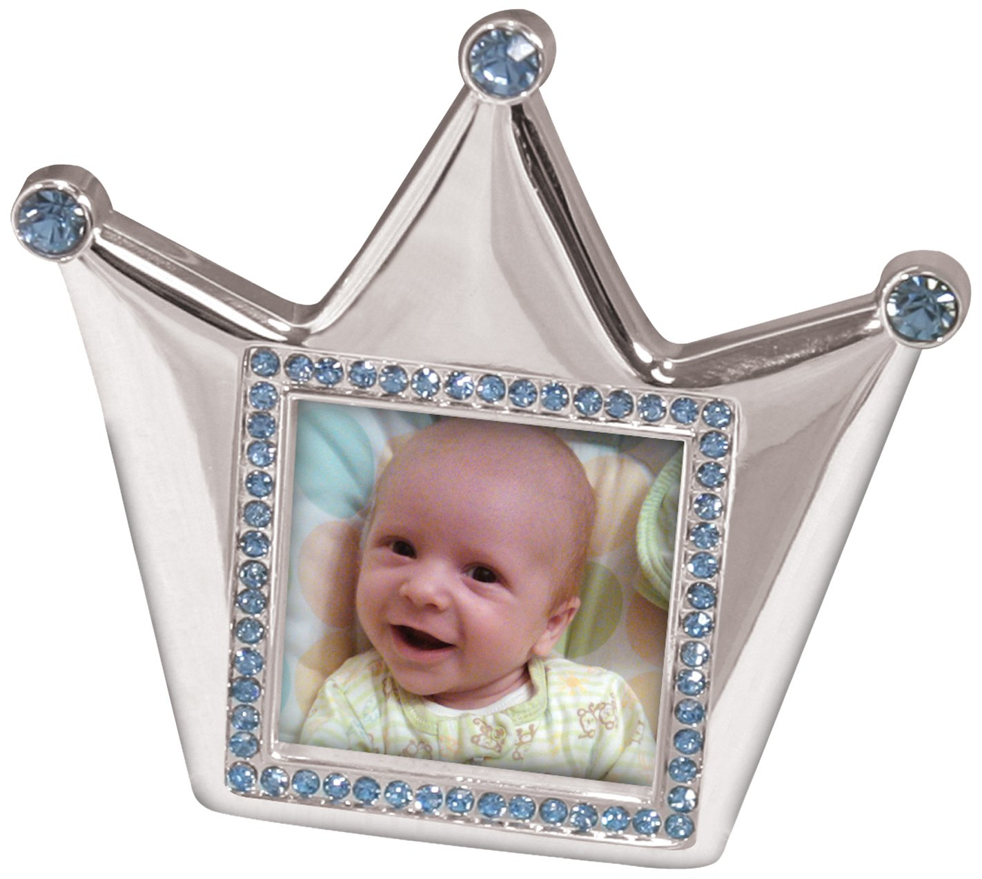 Stephan Baby Royalty Collection Keepsake Silver Plated Frame, Little Prince Crown 217114