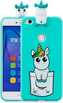 Leton Coque Huawei P8 Lite 2017 Silicone Coque Huawei P8 Lite 2017 3D Motif Licorne Verte Housse Huawei P8 Lite 2017 Antichoc TPU Souple Étui Cute ...