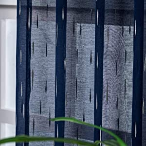 Kotile Rain Drops Navy Sheer Curtains - Embossed Metallic Minimalist Silver Dots Printed Blue Rod Pocket Window Curtains 84 Inch Length for Living Room, 52 x 84 Inches, 2 Panels, Navy Blue and Silver