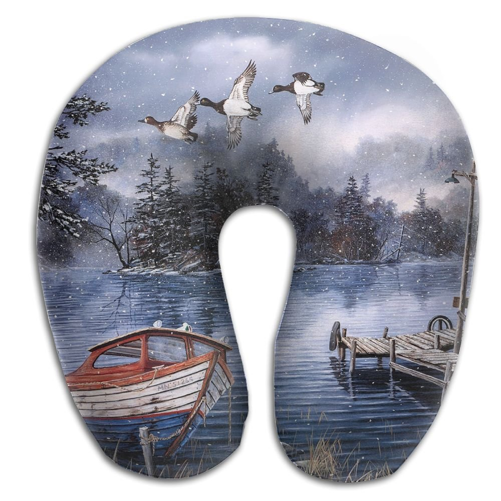 U-Shaped Pillow Neck Shoulder Body Care Watercolor Painting Lake And Woods Snow Health Soft U-Pillow For Home Travel Flight Unisex Supportive Sleeping