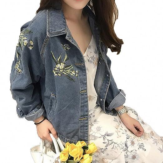 Huiwa Womens Denim Jacket Vintage Floral Embroidery Loose ...
