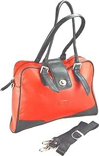 5467b90c6f7d7f Exklusive Pedro Designer Handtasche Leder Damen Handtasche in knalligem  black/orange