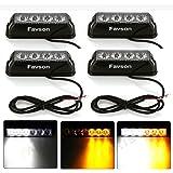 Favson 4 LED Strobe Lights for Trucks Cars Van with High Intensity White&Yellow Emergency Flasher(4 pcs)