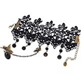 Yazilind Black Lace Bracelets with Ring Lolita Butterfly Spider Tassels Beads Chain Metal
