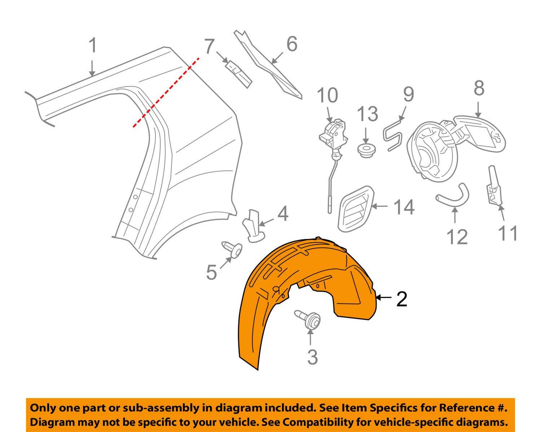 Volkswagen VW OEM 10-14 Golf Rear-Fender Liner Splash Shield Left 5K0810971C
