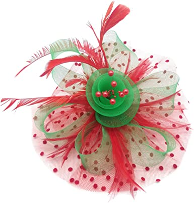 HiDecorRoom Mesh Ribbon Fascinator Hats Flower Headband with Hair Clips Womens Retro Feather Cocktail Party Headwear