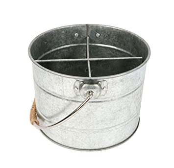 Cubo de metal galvanizado utensilio Caddy W/mango – Barbacoa Picnic accesorio
