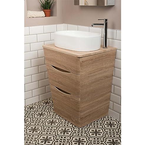 amazon.de: badezimmer 650mm waschtisch unterschrank eiche hell ... - Badezimmer Waschtisch Mit Unterschrank