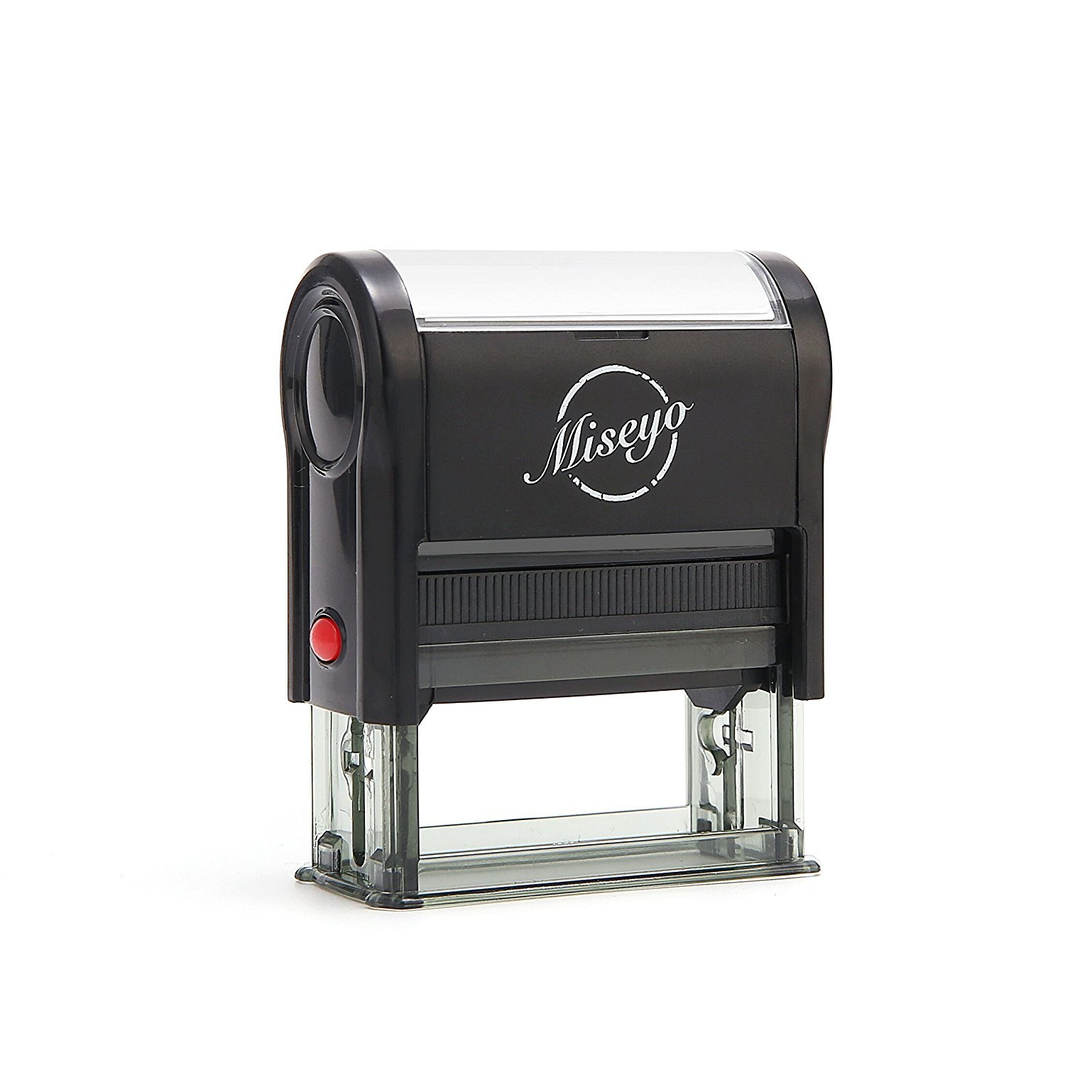 Miseyo Custom Self Inking Rubber Stamp - 5 Lines - 2 Ink Pads Included