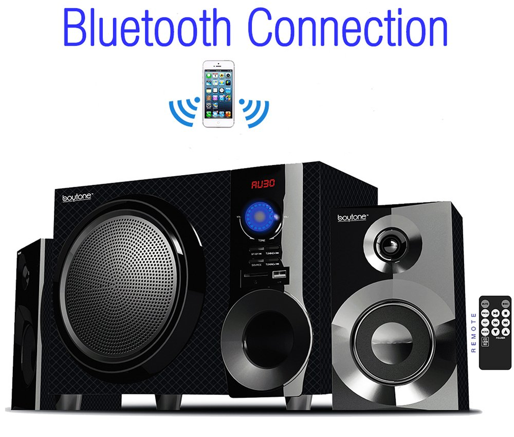 Boytone BT-210FD, Ultra Wireless Bluetooth Main unit, Powerful Sound with Powerful Bass System 30 watt, Excellent Quality Clear Sound & FM radio, with Remote Control Aux Port, SB/SD/ for Smartphone's , Tablets , Desktop Computers , Laptops ,Black Color by Boytone