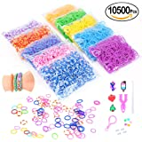 Loom Rubber Bands,10500pcs Complete Set Crafting Kit without Odor- 28 Colors Mega Refill Loom Bands Y Loom Charms Hooks S Clips Multicolored Beads Included for Kids Bracelet Weaving DIY Craft-by Wefun