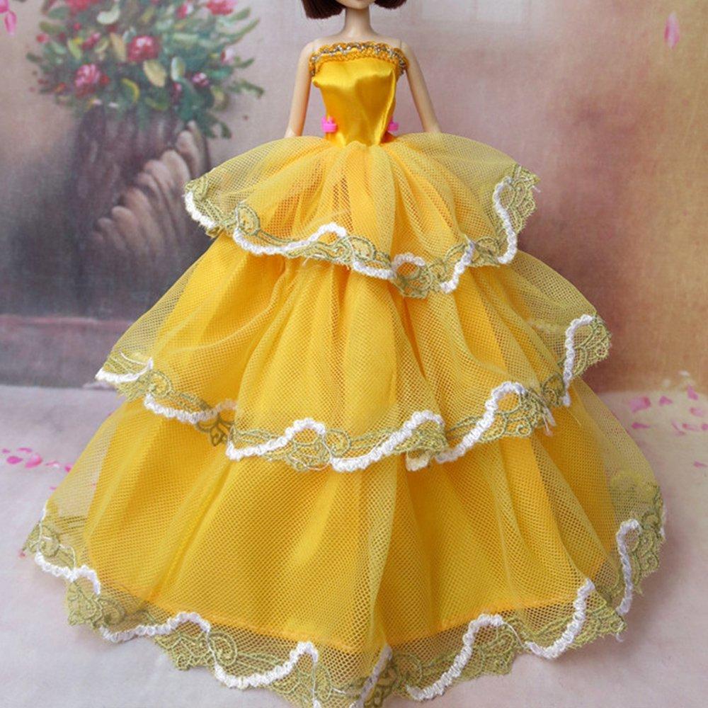 Beetest/® 6 Pz Barbie Bambole Pizzo Raso Abito Abiti per 11,5 Pollici Barbie Doll Ragazza Compleanno Natale Barbie Accessori Regalo