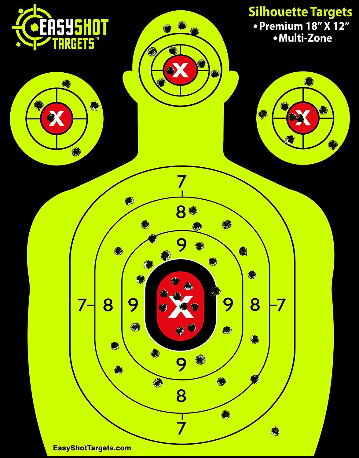 EASYSHOT Shooting Targets 18 X 12 inch. Shots are Easy to See with Our High-Vis Neon Yellow & Red Colors. Thick Silhouette Paper Sheets for Pistols, Rifles, BB Guns, Airsoft, Pellet Guns & More. by EasyShot Targets (Image #2)
