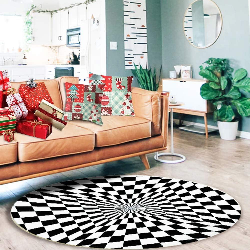 Lutiore Round Area Rug, 3D Vortex Illusion Rug Indoor Area Rugs Living Room Carpets for Children Bedroom Home Decor, 2.62ft Diameter
