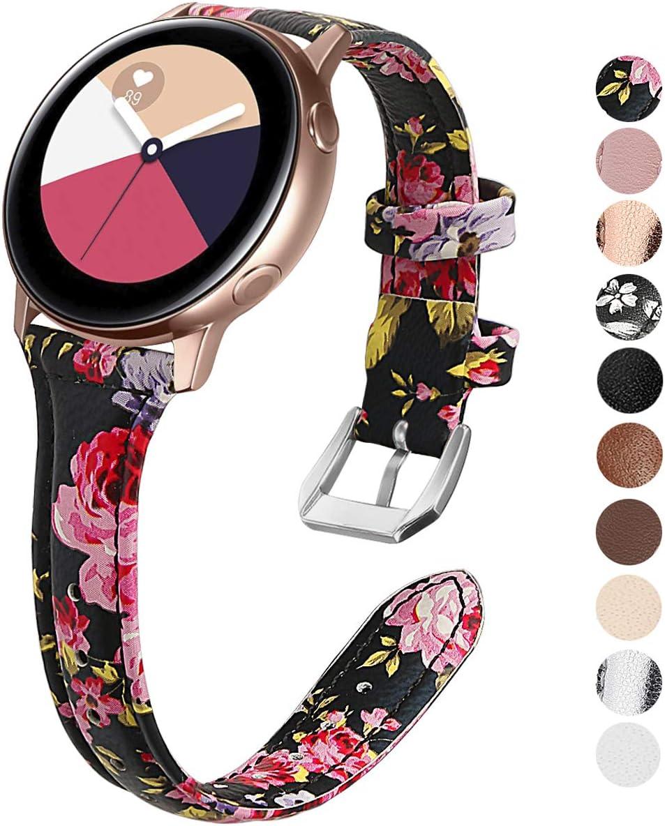 KIMILAR Pulseras Compatible con Samsung Galaxy Watch Active/42mm/Active 2 (40/44mm) Correa Cuero, Reemplazo de Banda de la Muñeca Compatible con Garmin Vivoactive 3,Ticwatch 2,Gear Sport -Flor Rosa
