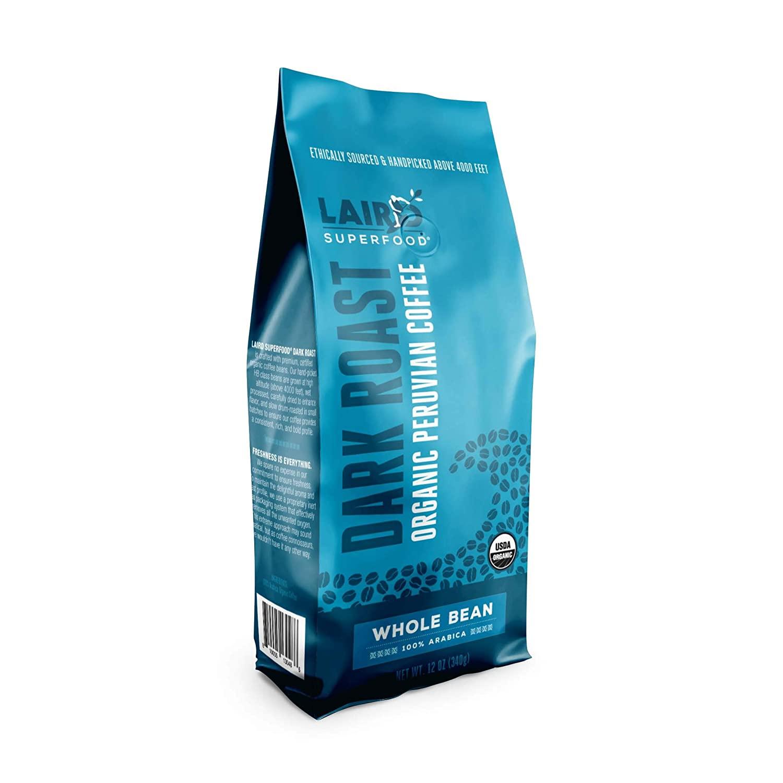 Laird Superfood Peruvian Dark Roast Caffeinated Coffee - Ethically Sourced Premium Organic Whole Bean Coffee, New 12oz Bag